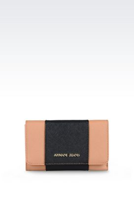 Armani Wallets Women button wallet in faux saffiano