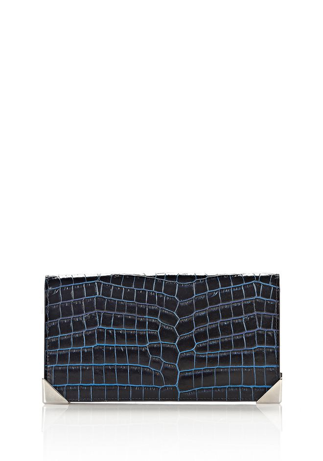 ALEXANDER WANG slgsccwp PRISMA LONG COMPACT IN CROC EMBOSSED NEPTUNE WITH RHODIUM