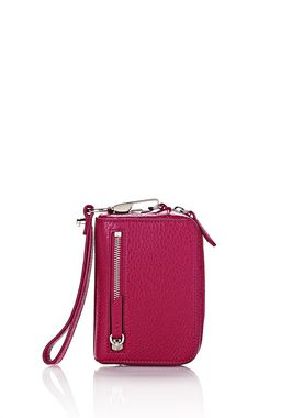 FUMO LARGE WALLET IN PEBBLED FUCHSIA WITH RHODIUM