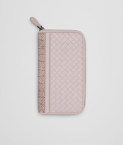ZIP AROUND WALLET IN ROSE BUVARD INTRECCIATO NAPPA AND AYERS WITH MADRAS DETAIL