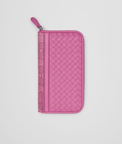 ZIP AROUND WALLET IN PEONY INTRECCIATO NAPPA AND AYERS WITH MADRAS DETAIL