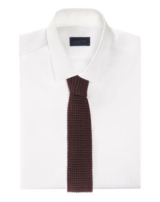 lanvin square end tie in red silk knit men