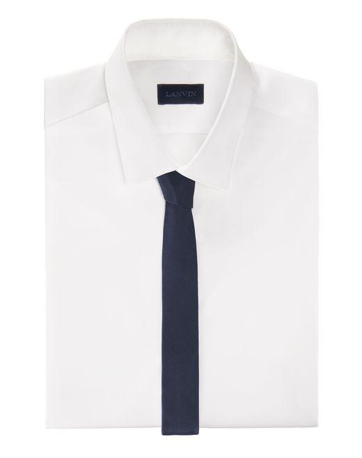 lanvin narrow navy blue tie with a twill motif men