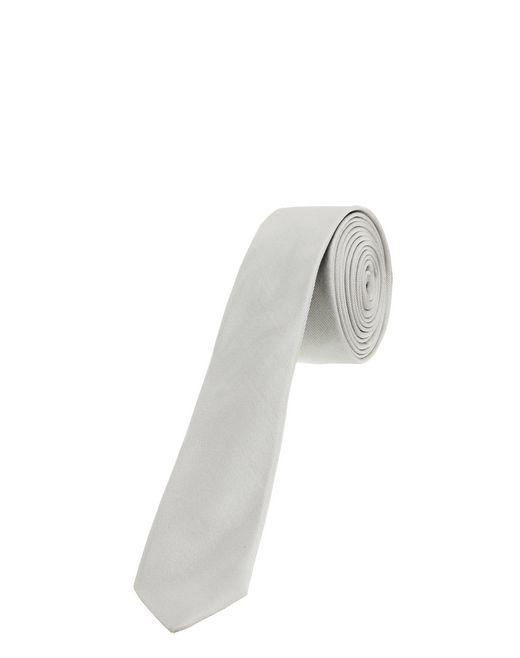 lanvin narrow pale gray tie with a twill motif men
