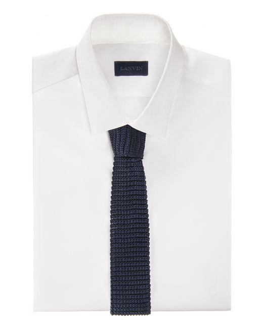 lanvin square end tie in blue silk knit men
