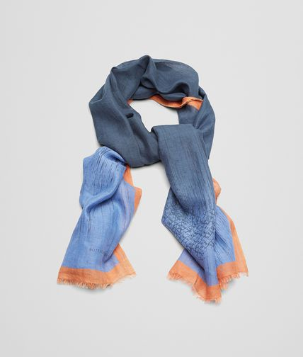 SCARF IN PERIWINKLE ORANGE COTTON LINEN