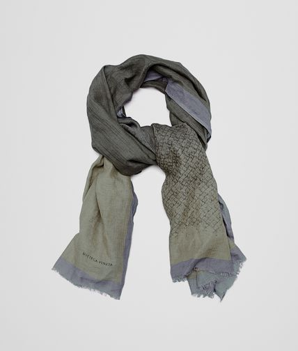 SCARF IN ANTHRACITE DARK GREEN COTTON LINEN
