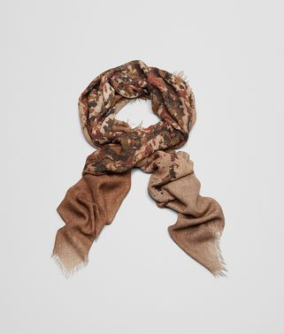 SCARF IN LIGHT BROWN ORANGE CASHMERE SILK