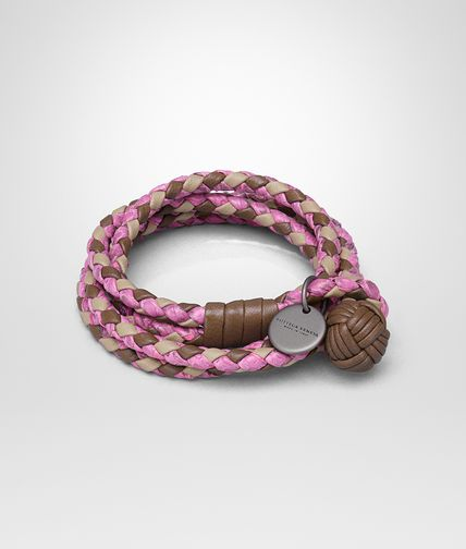 BRACELET IN NEW CIGAR AND MINK INTRECCIATO NAPPA AND PEONY AYERS
