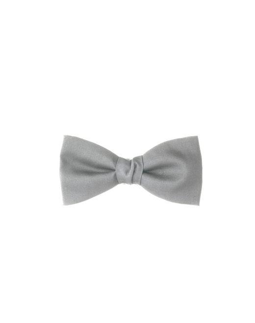 lanvin pre-tied pale gray silk bow tie men