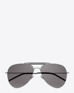 classic 11 shooter aviator sunglasses in shiny silver steel with smoke lenses
