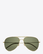 classic 11 shooter aviator sunglasses in shiny gold steel with green lenses