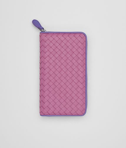 ZIP AROUND WALLET IN PEONY LAVENDER INTRECCIATO NAPPA
