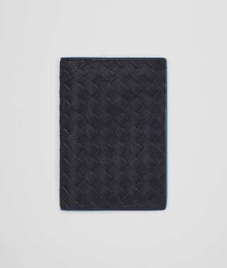 PASSPORT CASE IN NEW DARK NAVY PEACOCK INTRECCIATO CALF