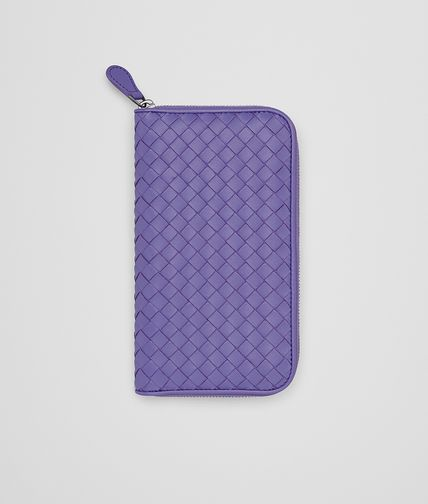 ZIP AROUND WALLET IN LAVENDER INTRECCIATO NAPPA