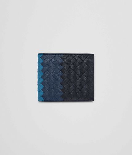WALLET IN DARK NAVY PACIFIC PEACOCK INTRECCIATO CLUB LAMB LEATHER
