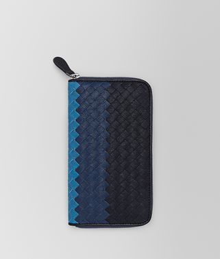 ZIP AROUND WALLET IN DARK NAVY PACIFIC PEACOCK INTRECCIATO CLUB LAMB LEATHER