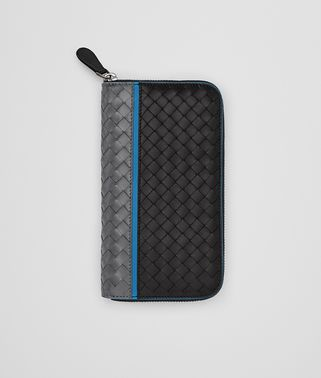 ZIP-AROUND WALLET IN ARDOISE NERO PEACOCK INTRECCIATO NAPPA