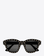 NEW WAVE 100/F LOU Studded Sunglasses in Shiny Black Acetate with Grey Lenses