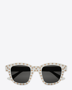 NEW WAVE 100/F LOU Studded Sunglasses in Shiny Ivory Acetate with Grey Lenses