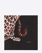ANIMALIER Large Square Scarf in Black, Red and White Leopard Printed Wool Étamine