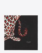 Sciarpa quadrata large ANIMALIER nera, rossa e bianca in étamine di lana con stampa Leopard