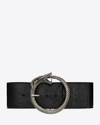 SERPENT SAINT LAURENT Buckle Belt in Black Salmon Skin and Brushed Silver-Toned Metal