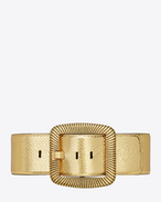 CARRÉE SAINT LAURENT Buckle Corset Belt in Gold Python Embossed Metallic Leather and Aged Gold-Toned Metal