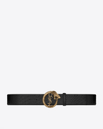 MONOGRAM SAINT LAURENT Serpent Buckle Belt in Black Python Embossed Leather and Light Bronze-Toned Metal