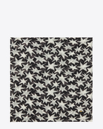 Sciarpa quadrata large nera e bianco sporco in étamine di lana con stampa Star