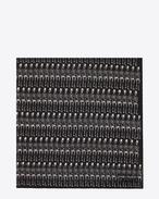 Sciarpa quadrata large nera e bianco ottico in cachemire e étamine di seta con stampa Skeleton