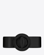 RONDE SAINT LAURENT Buckle Corset Belt in Black Patent Leather