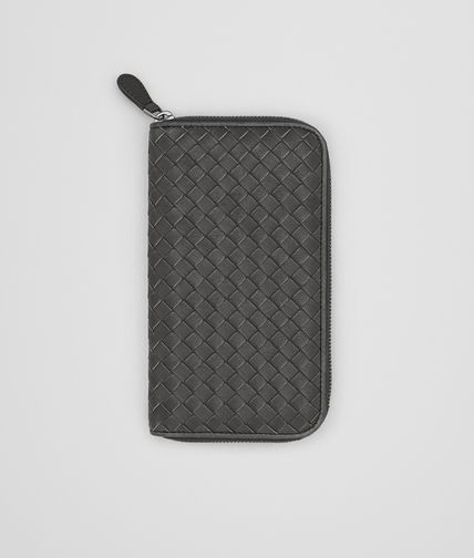 ZIP AROUND WALLET IN NEW LIGHT GREY PEACOCK INTRECCIATO CALF