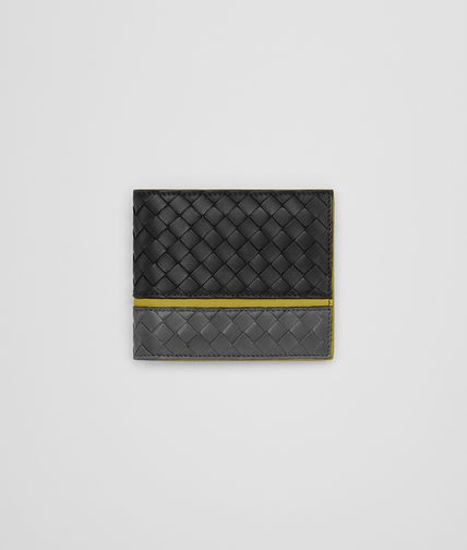 WALLET IN NERO ARDOISE ANCIENT GOLD INTRECCIATO NAPPA
