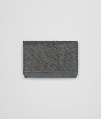 CARD CASE IN NEW LIGHT GREY PEACOCK INTRECCIATO CALF