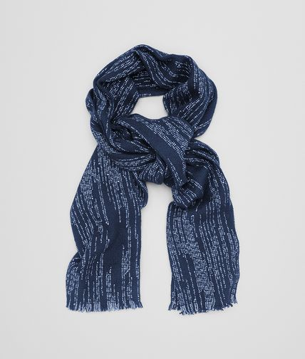 SCARF IN MIDNIGHT BLUE IVORY CASHMERE AND COTTON