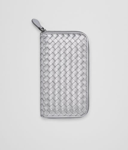 ZIP AROUND WALLET IN SILVER INTRECCIATO GROS GRAIN