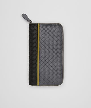 ZIP AROUND WALLET IN NERO ARDOISE ANCIENT GOLD INTRECCIATO NAPPA