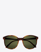new wave 95 sunglasses in shiny light havana acetate with green lenses
