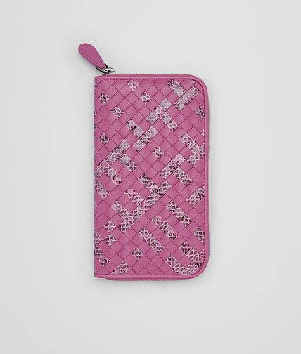 ZIP AROUND WALLET IN PEONY INTRECCIATO NAPPA AYERS
