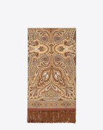 Signature Scarf in Beige and Light Brown Paisley Printed Wool
