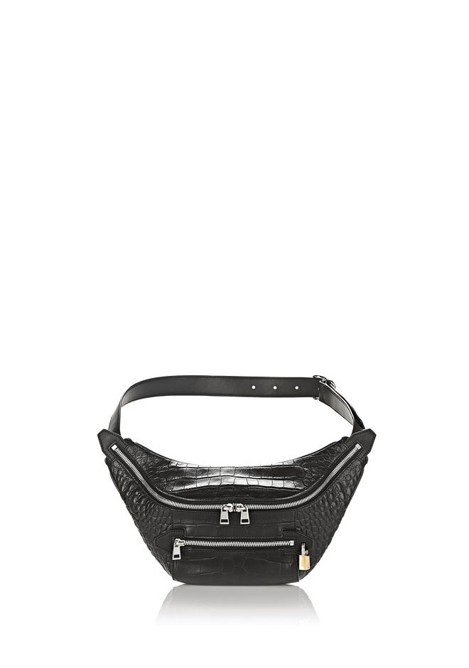 ALEXANDER WANG SMALL LEATHER GOODS Women PADLOCK FANNYPACK IN CROC EMBOSSED BLACK
