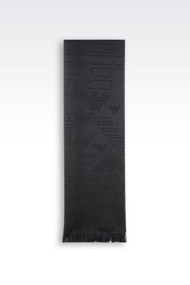 Armani Scarves Men wool scarf with logo pattern