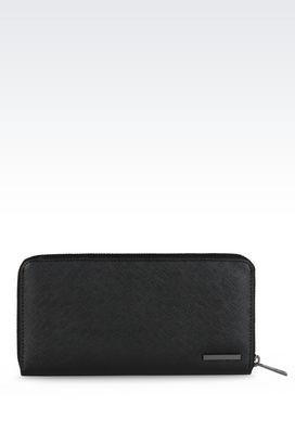 Armani Wallets Men zip-around wallet in saffiano print