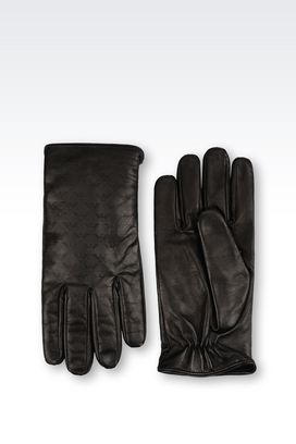 Armani Gloves Men nappa leather gloves with logo pattern