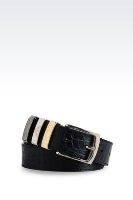 Armani Textile belts Women belt in croc print leather