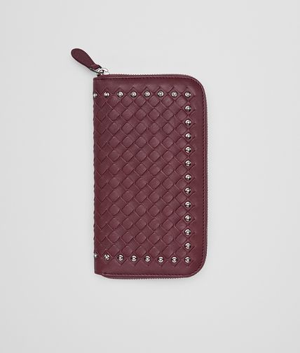 ZIP AROUND WALLET IN BAROLO INTRECCIATO LAMB LEATHER WITH METAL STUDS
