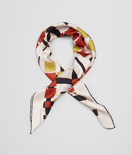 FOULARD IN IVORY RED SILK