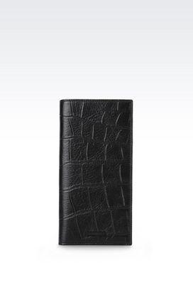 Armani Wallets Men wallet in croc print calfskin