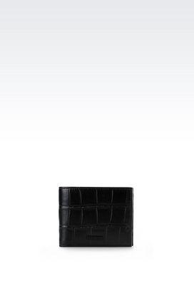 Armani Wallets Men bi-fold wallet in croc print calfskin